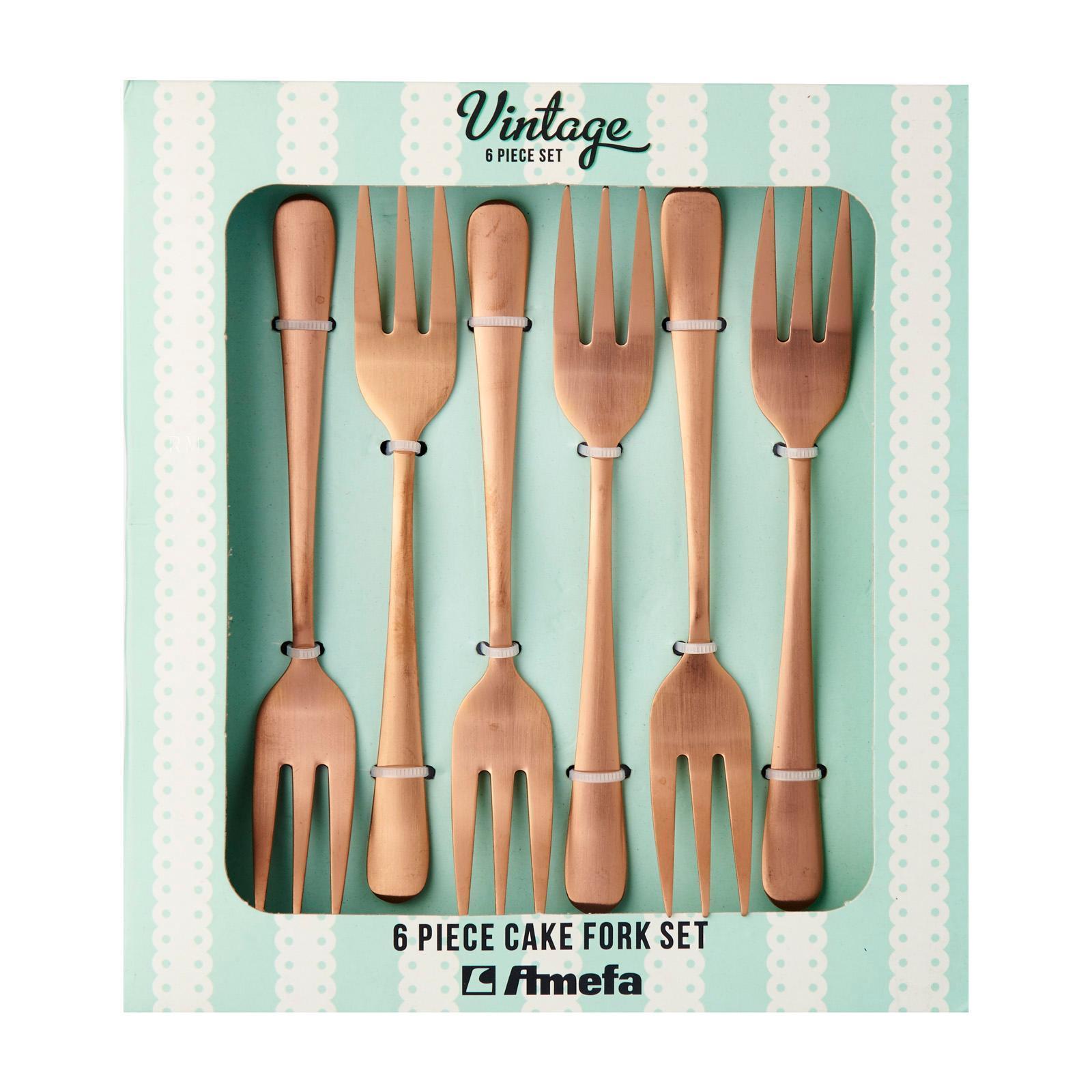 Amefa Cake Fork Set 6's Vintage Copper Finish