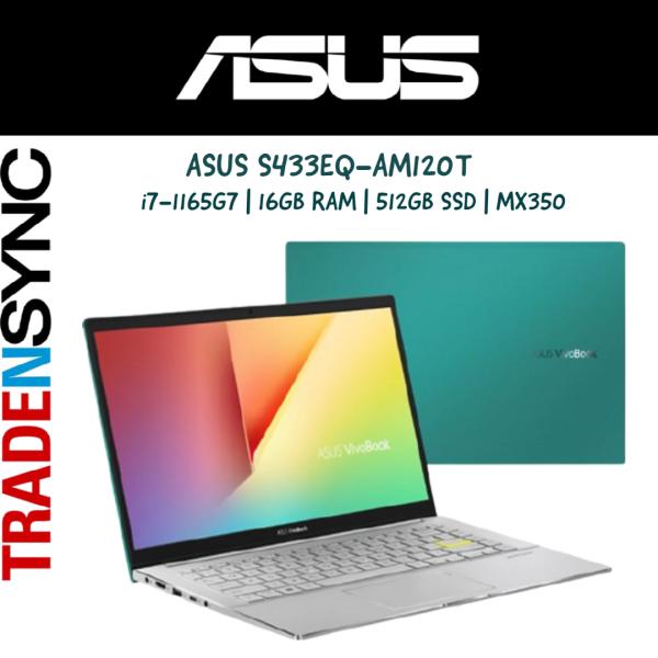 Asus VivoBook S14 S433 | S433EQ-AM120T | GREEN In Colour | intel i7-1165G7 Processor | 16GB DDR4 | 512GB SSD | 14 FHD IPS Display | NVIDIA GeForce MX350 |  Windows 10 Home | 2yr warranty