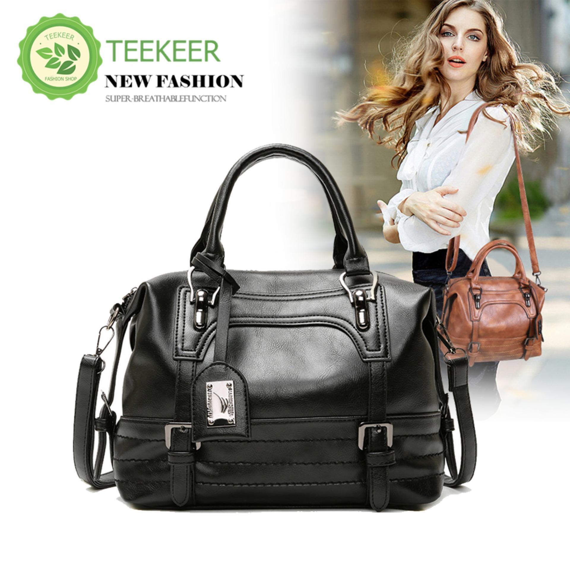 f5e24f93c1f Teekeer Womens Genuine Leather Handbag ,Urban Style Satchel Tote Bag  Vintage Shoulder Top-Handle Crossbody Handbags