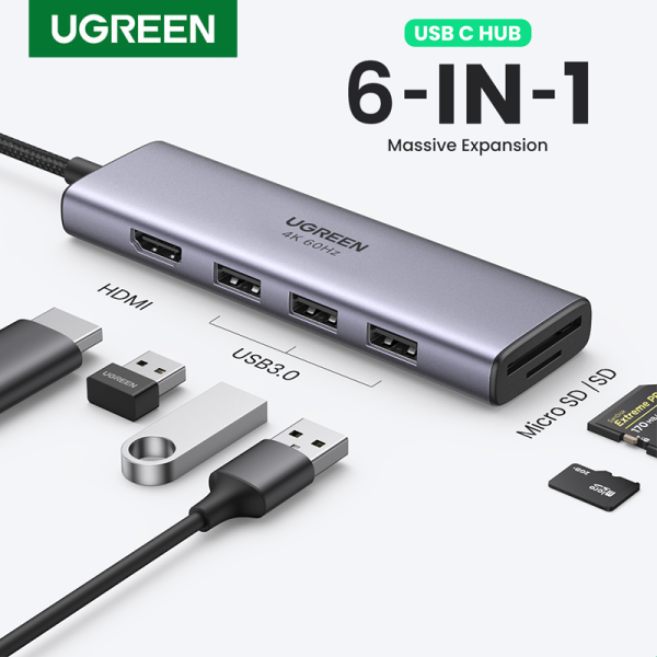 UGREEN USB C Hub, USB C Dongle Adapter 6 in 1 with 4K 60Hz HDMI Output, 3 USB 3.0 Ports, SD/Micro SD Card Reader Compatible for MacBook Pro Air HP XPS and More Type C Devices