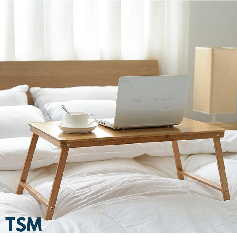 TSM Foldable Laptop Bed Table Bamboo Wood for Study Work Notebook Desk
