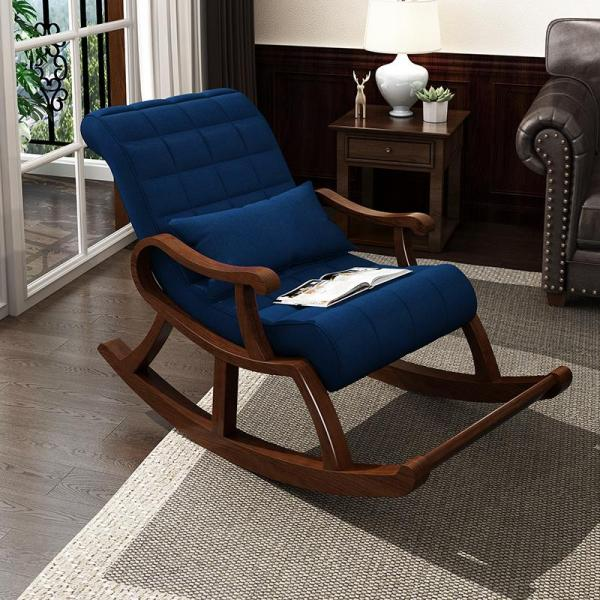 YY High Quality Classic Wooden Rocking Chair cotton Linen elastic foam cushions man woman home Living Room comfort stylish relax HDB condo black dark blue coffee grey white red turquoise