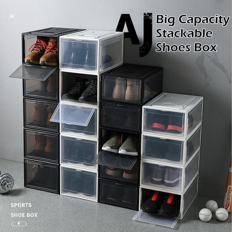 ♦ BUNDLE OF 4 ♦ BIG Plastic AJ Stackable Shoes Box Storage Rack ♦ Foldable Shoe Cabinet Drawer Shelf