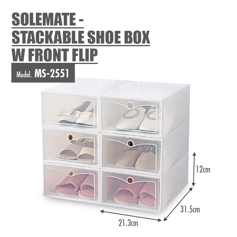 [Set of 3] SoleMate - Stackable Shoe Box with Front Flip (White)