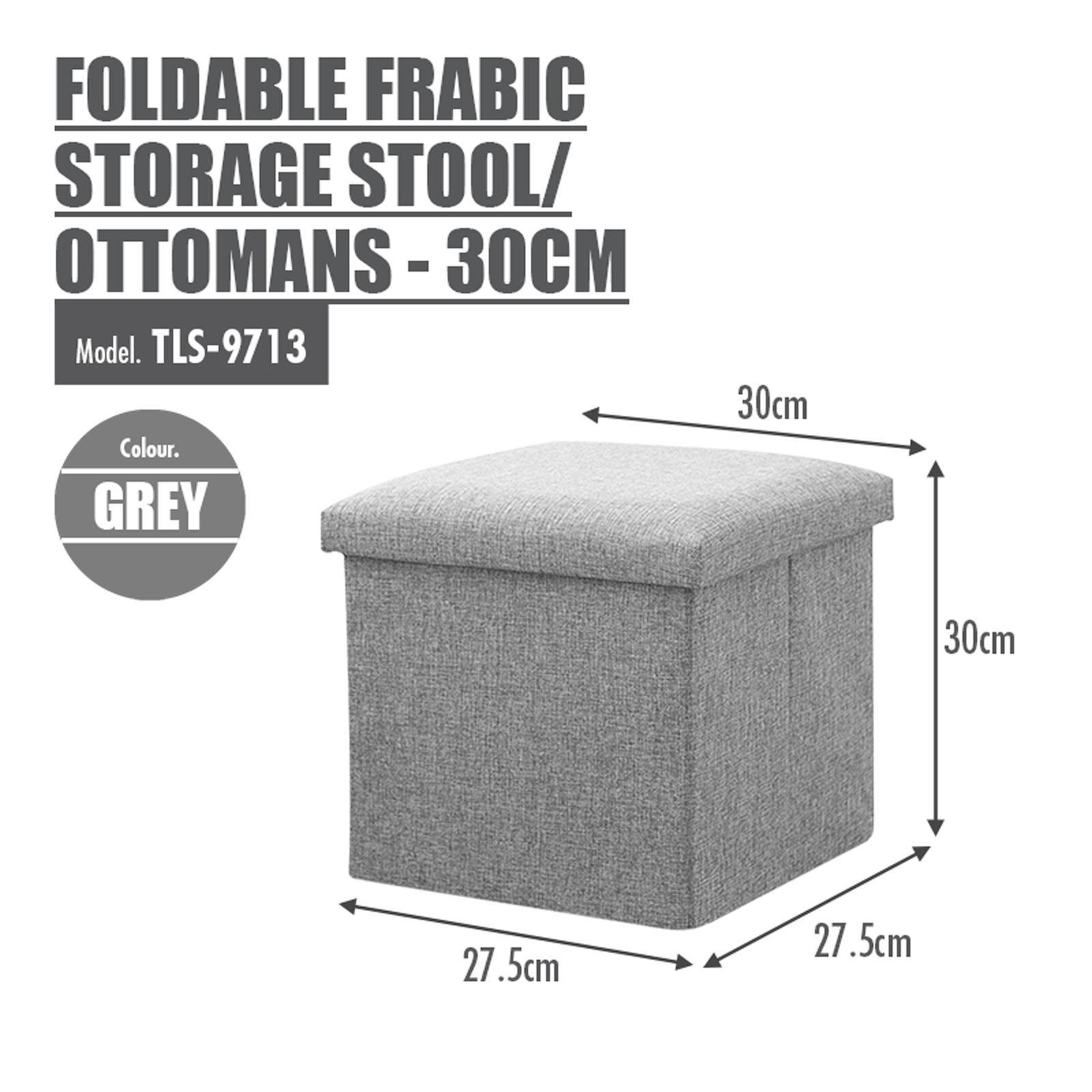 HOUZE Foldable Fabric Storage Stool/Ottomans - (Grey)