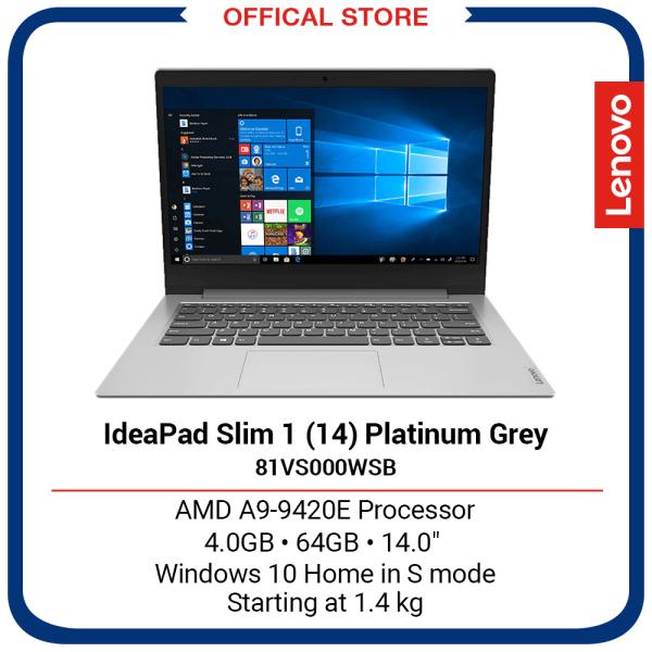 Lenovo IdeaPad Slim 1 (14)   AMD A9-9420E Processor   4GB   64GB   14   Platinum Grey