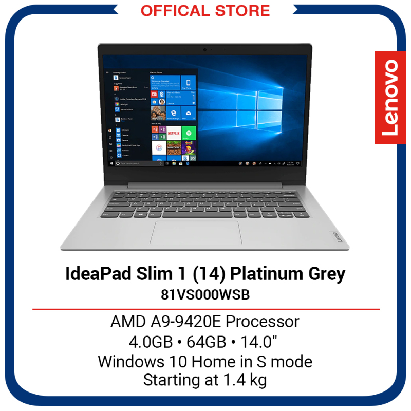 Lenovo IdeaPad Slim 1 (14) | AMD A9-9420E Processor | 4GB | 64GB | 14 | Platinum Grey