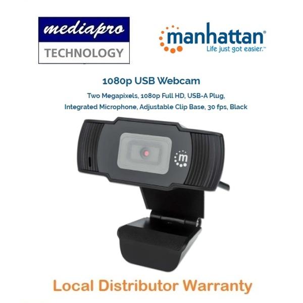 MANHATTAN US Brand 1080p USB Webcam (462006) Two Megapixels, Full HD, USB-A Plug, Integrated Microphone, Adjustable Clip Base, 30 fps - 1 Year Local Distributor Warranty