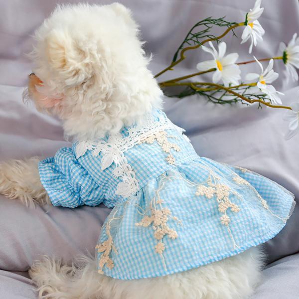 1 Chiếc Váy Đầm Cho Thú Cưng Trang Phục Váy Ren Hoa Màu Xanh Kẻ Sọc Có Nút Cho Chó Mèo Mùa Xuân Hè
