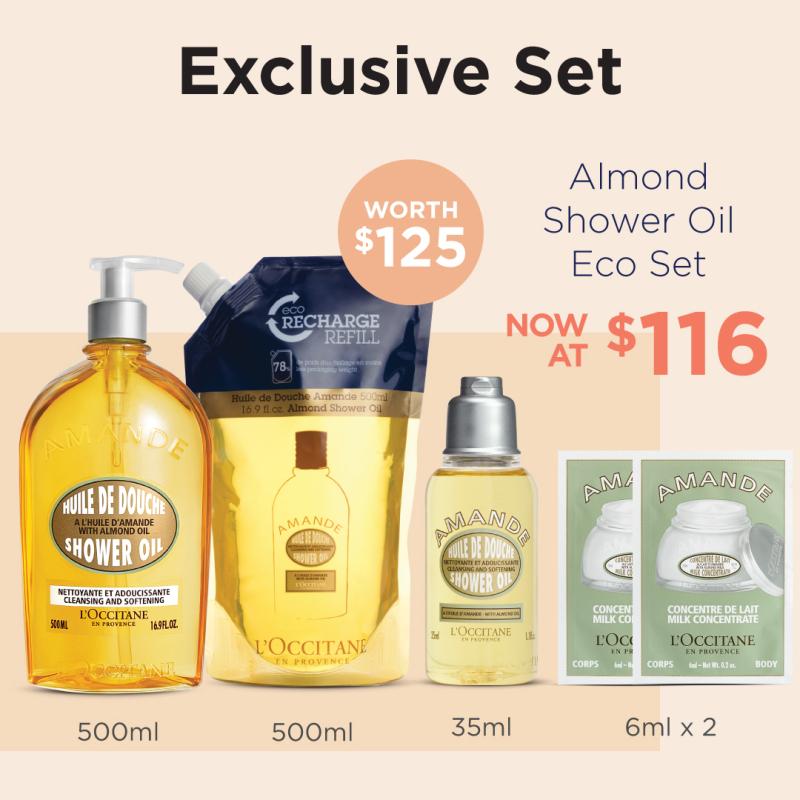 Buy [LAZADA EXCLUSIVE] L'OCCITANE Almond Shower Oil Set (worth $125) • includes Almond Shower Oil 500ml + Almond Shower Oil Eco Refill 500ml + Almond Milk Concentrate 6ml + Almond Milk Concentrate 6ml + Almond Shower Oil 35ml Singapore