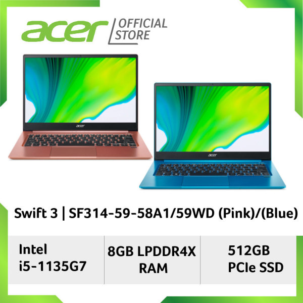 [2021 Model] Acer Swift 3 SF314-59-58A1/59WD 14 FHD IPS 300nits 100% sRGB panel Thin and light weight laptop with Intel 11th Gen i5-1135G7 Processor