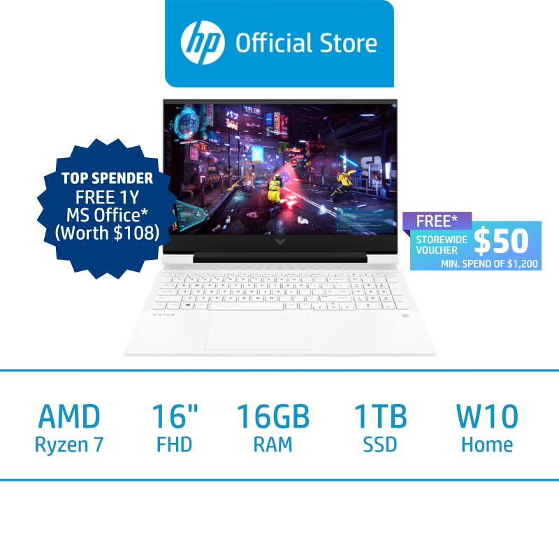 Victus by HP Laptop 16-e0096AX / AMD Ryzen 7 5800H / 16GB RAM / 1TB SSD / 16.1 FHD / Win 10 / 2 Years Onsite Warranty / 2 Years ADP / Free 1 Mth McAfee LiveSafe