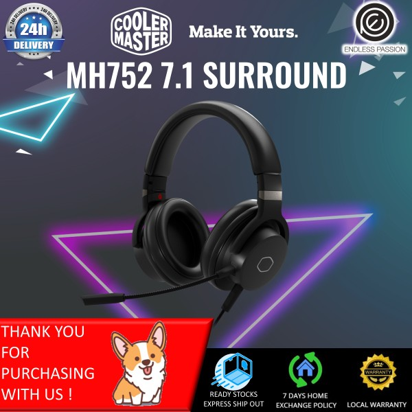 Cooler Master MH752 Gaming Headset with Virtual 7.1 Surround Sound, Plush Earcups, and Omni-Directional Boom Mic
