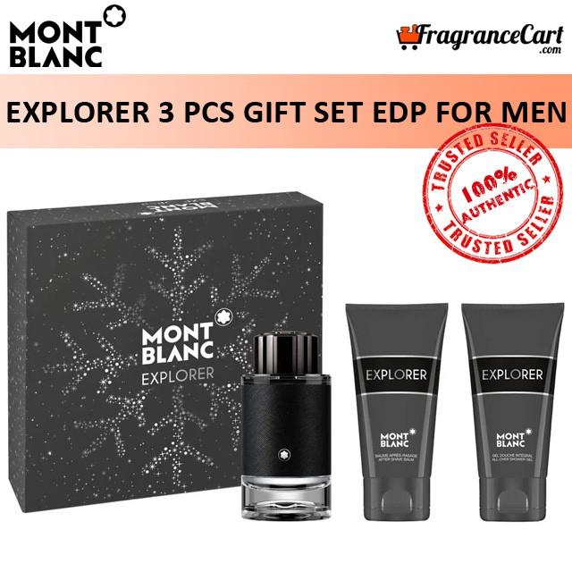 Mont Blanc Explorer 3 Pcs Gift Set For Men (100ml Edp + 100ml Shower Gel + 100ml Aftershave Balm) Eau De Parfum Giftset Collection [brand New 100% Authentic Perfume/fragrance].