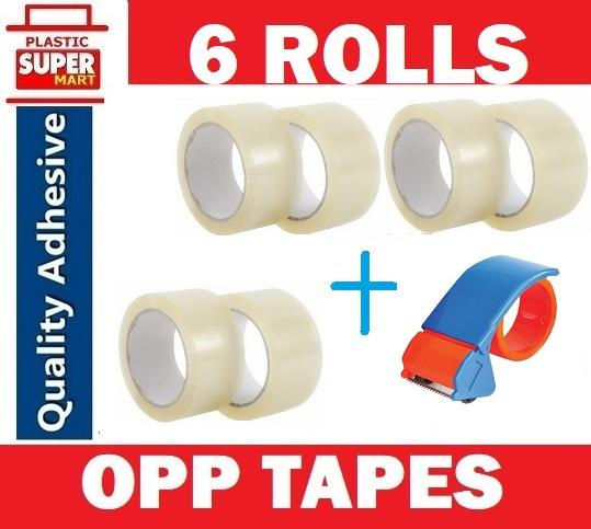 【6 Rolls + Dispenser】【 OPP TAPES 】45mm x 80m Clear Adhesive Transparent Masking Tape Carton Boxes Pack Sealing Box Packaging Material