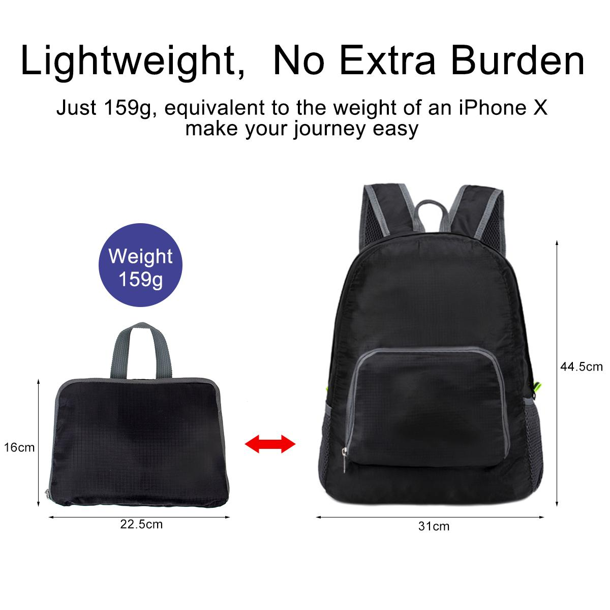 Unisex Foldable Portable backpack light weight Daypack Small Handy Waterproof Outdoor travel with side pocket good for school company gifts Black