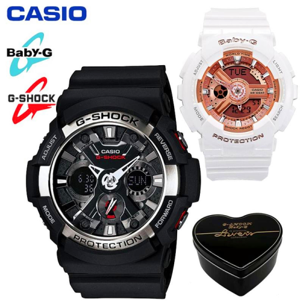 Original Casio G Shock Baby G GA200 BA110 Men Women Couple Set Sport Watch Dual Time Display Water Resistant Shockproof and Waterproof World Time LED Light Lover Sports Wrist Watches with 2 Year Warranty BA-110-7A1/GA-200-1AJF (Ready Stock) Malaysia