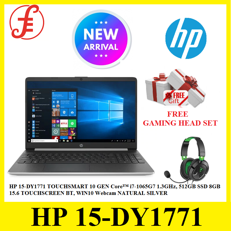 HP 15-DY1771 TOUCHSMART 10 GEN Core™ i7-1065G7 1.3GHz, 512GB SSD 8GB 15.6 TOUCHSCREEN BT, WIN10 Webcam NATURAL SILVER