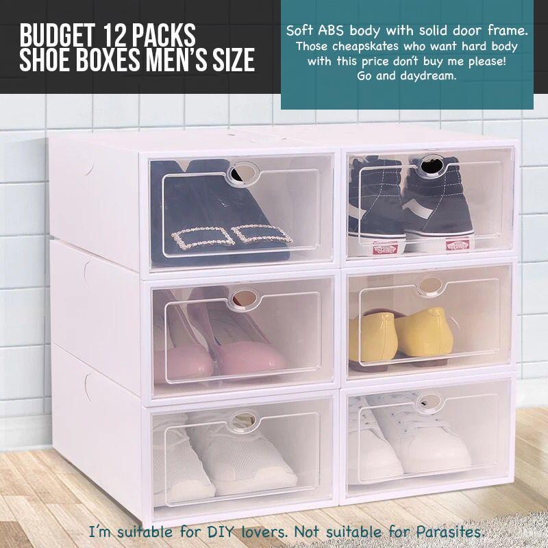 12/24/48/96 shoe storage boxes lady men translucent heel DIY rank drawer drop front shelf box organizer set SBO012 SBO014 SBO021 SBO022 SBO032
