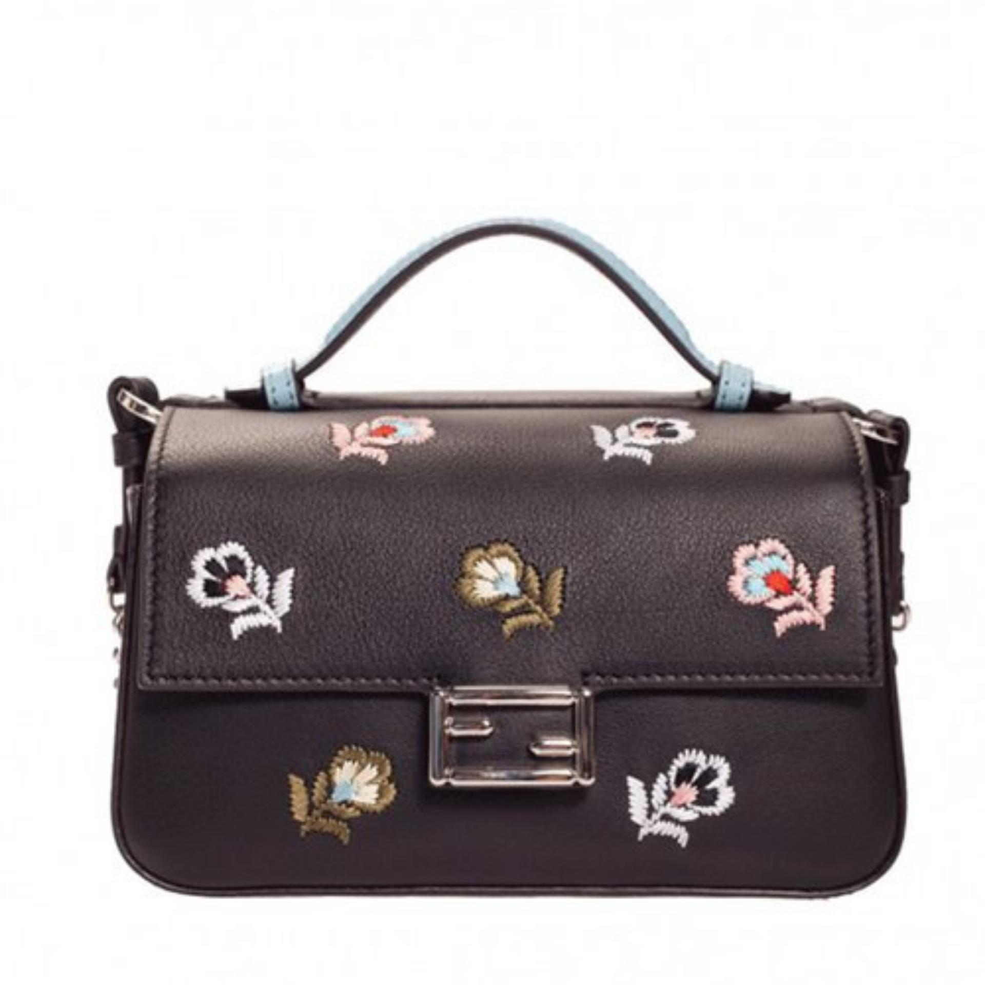 7c9ad07085b Fendi Embroidered Double Micro Bag Bugs Baguette Bag (Black)    8M0371OYTF03DG