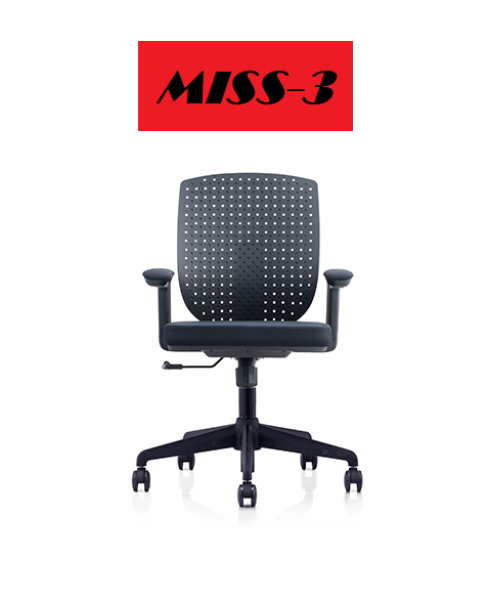 MISS-3 195B (Bkack/Grey) (Adjustable Armrest , Adjustable Back , Lean Back Function , Adjustable High ) Singapore