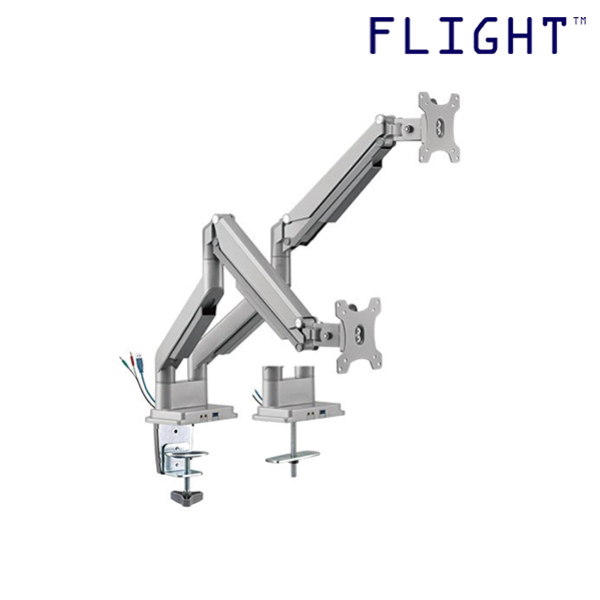 [HOT SELLING] LCD Monitor Arm, Dual Monitor Support with Double Arms Linked, Silver, Grommet and Clamp, International Vesa Compatible, 1-9kg, Cable Management Included, 180 Degree Monitor Rotation - L34-202UD - Flight