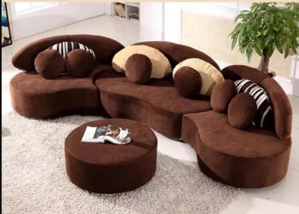7 Seater soft cushion plush sofa set  Round modular sofa set with round table