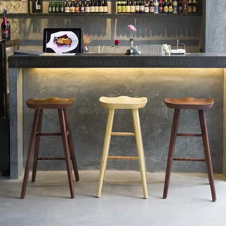 MANSON Rustic Solid Wood Bar Stool