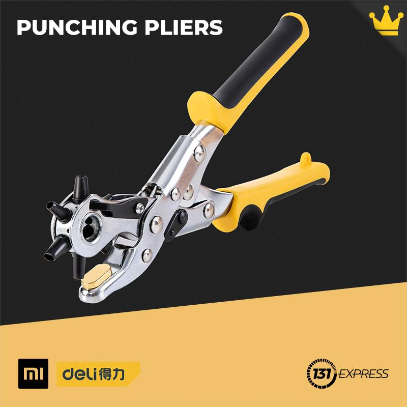 Xiaomi Deli Punching Pliers Brass Portable Non-Slip Multi-Type Hole Punch Head For Leather Belt Wallet Card Tools Kit