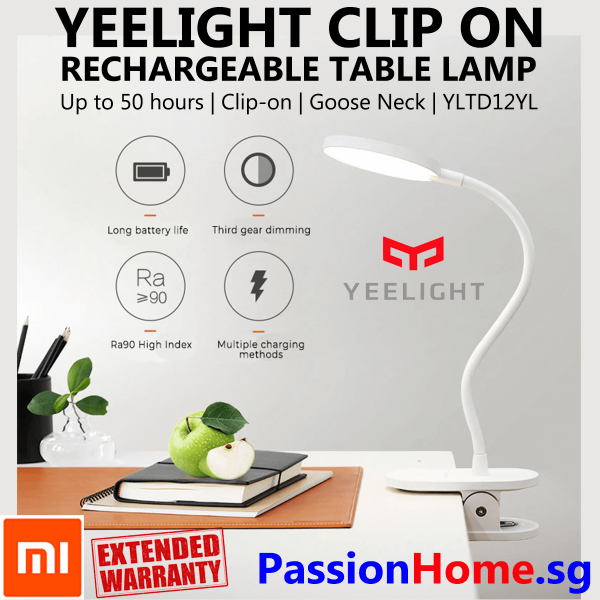 Xiaomi Yeelight LED Rechargeable Table J1 PRO Lamp 2019 - Clip On Desk Clamp Lights 5W 100 lumens  3700K- Reading Work Lighting Study Night USB Flexible Touch Sensor Button Long Battery Life Portable - Kids Room Bedroom YLTD12YL PassionHome.sg