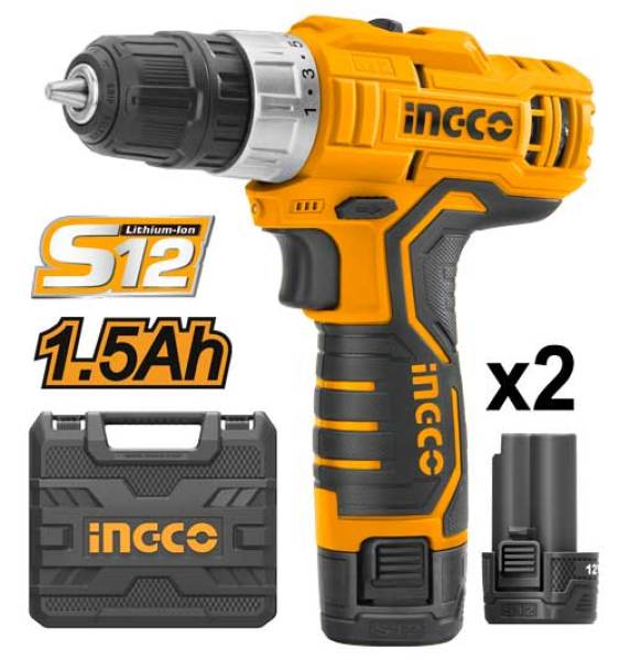 INGCO Lithium-Ion Cordless Drill with 2pcs Battery Pack, 1pcs Charger and Bits CDLI1232