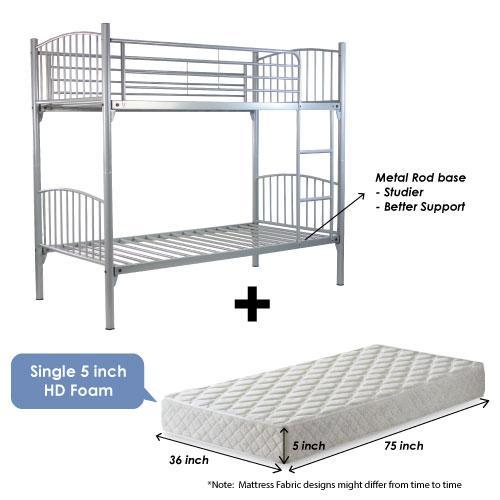 [A-STAR] Silver Metal Double Decker bed + 5inch Mattress