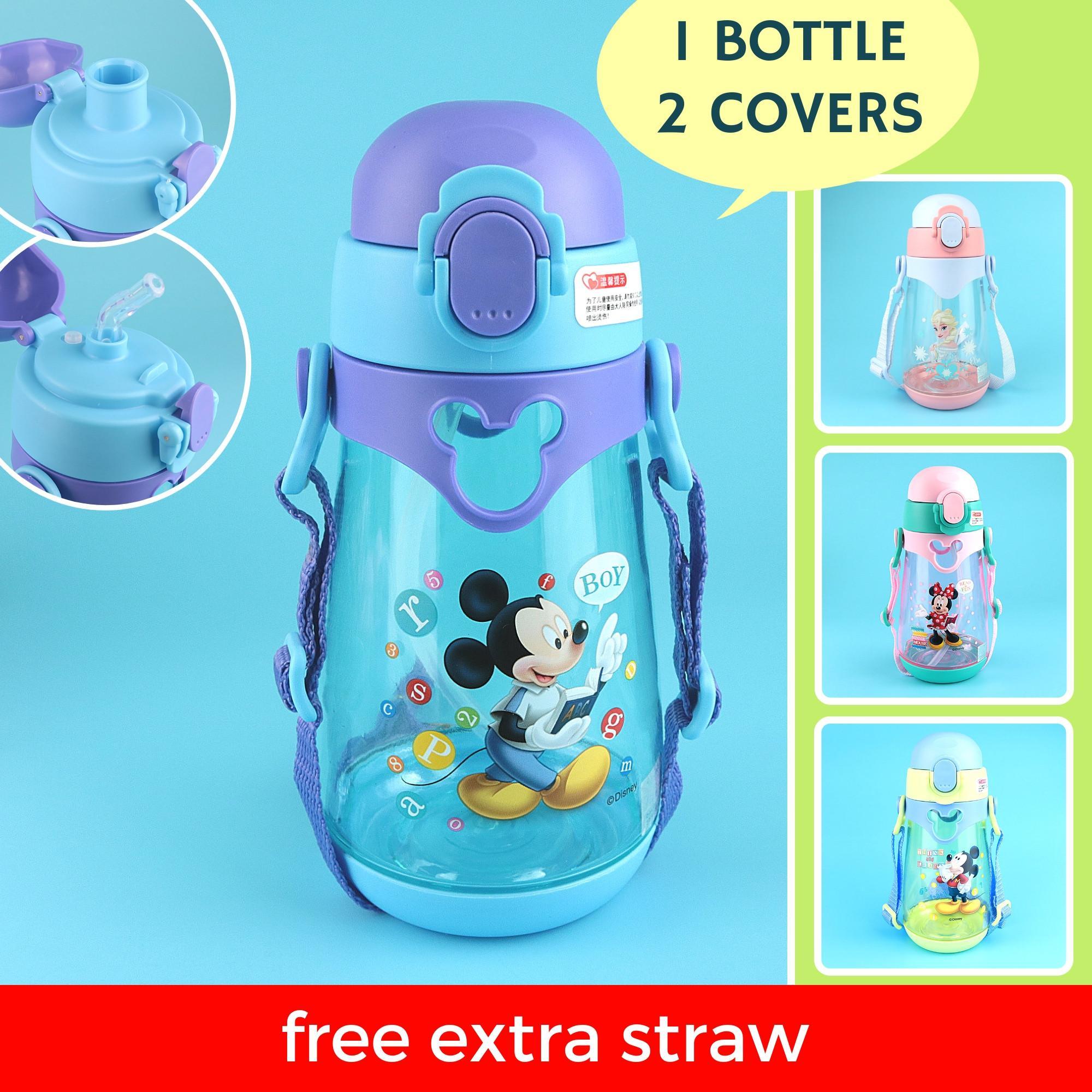 Disney Frozen Kids Water Bottle 2-In-1 Straw And Direct Drink Interchangeable Bpa-Free 550ml By 8miles Creative Studio.