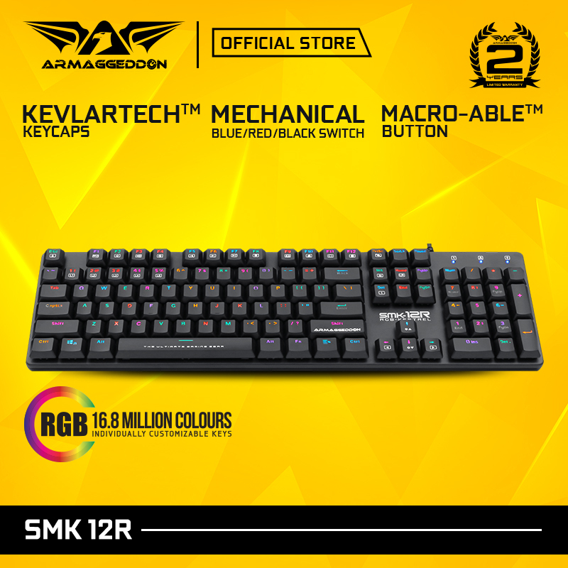 Armaggedddon SMK-12R Kestrel Blue/Red/Black Switch Mechanical Gaming Keyboard Singapore