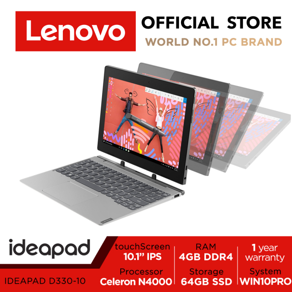 Lenovo ideapad D330 2-1 detachable | 10.1inch 1280*800 touch | Intel Celeron | 4GB RAM | 64GB SSD | Win10 Pro | 1Y warranty | 81H300J6SB