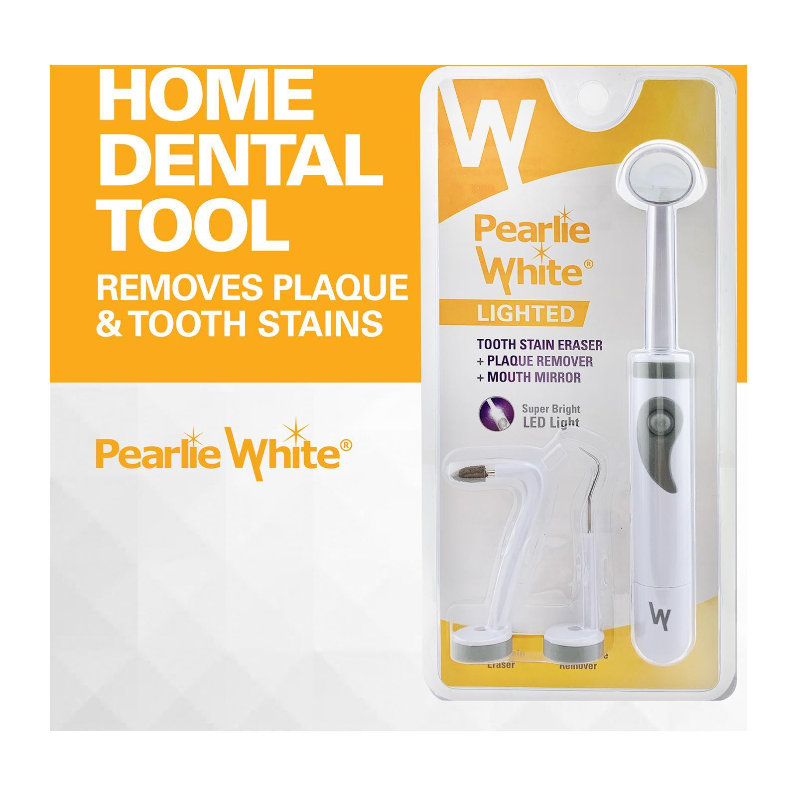 Pearlie White Lighted Tooth Stain Eraser + Plaque Remover + Mouth Mirror