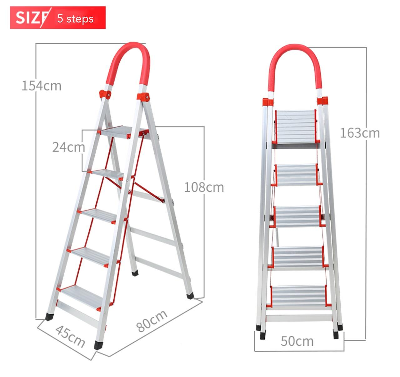 Light Aluminium Ladder with Grip Handle 5-Step