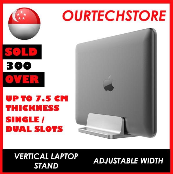 Vertical Laptop Stand Single Dual Portable Desktop Holder Adjustable Dock (Up to 17.3 inch Laptops)