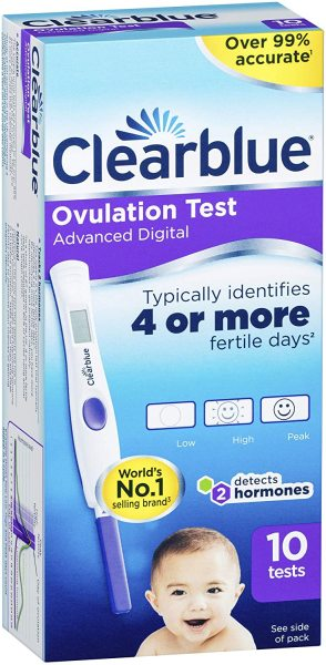 Buy Clearblue Advanced Digital Ovulation Test KIT With Dual Hormone Indicator identifies 4 or more fertile days (10 Pack) Singapore