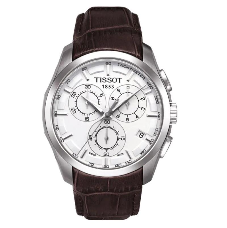 Tissot Couturier Chronograph White 41mm Dial Brown Leather Strap Mens Watch T035.617.16.031.00 By Watch Centre.