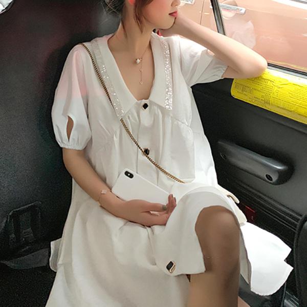 Mùa Hè Big Size Mm Chất Béo Đầm Nữ Kiểu Pháp Thích Hợp Váy Sơ Mi Kiểu Lửng Khí Chất Thần Fan Hâm Mộ Tay Bồng Tiên Khí