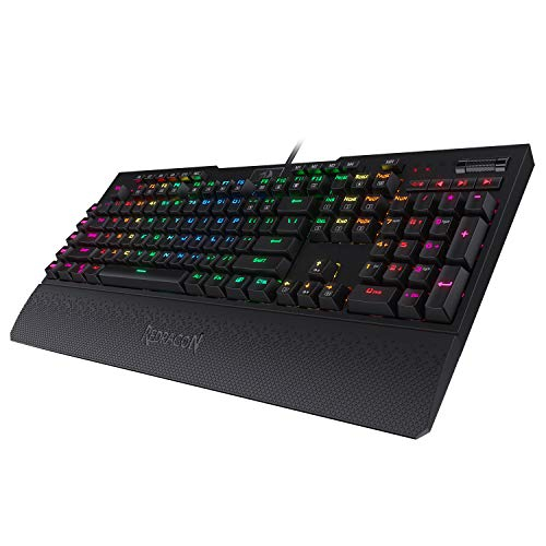 Redragon K586 Brahma RGB Mechanical Gaming Keyboard with Blue Switches, 10 Dedicated Macro Keys, Convenient Media Control, and Detachable Wrist Rest Singapore