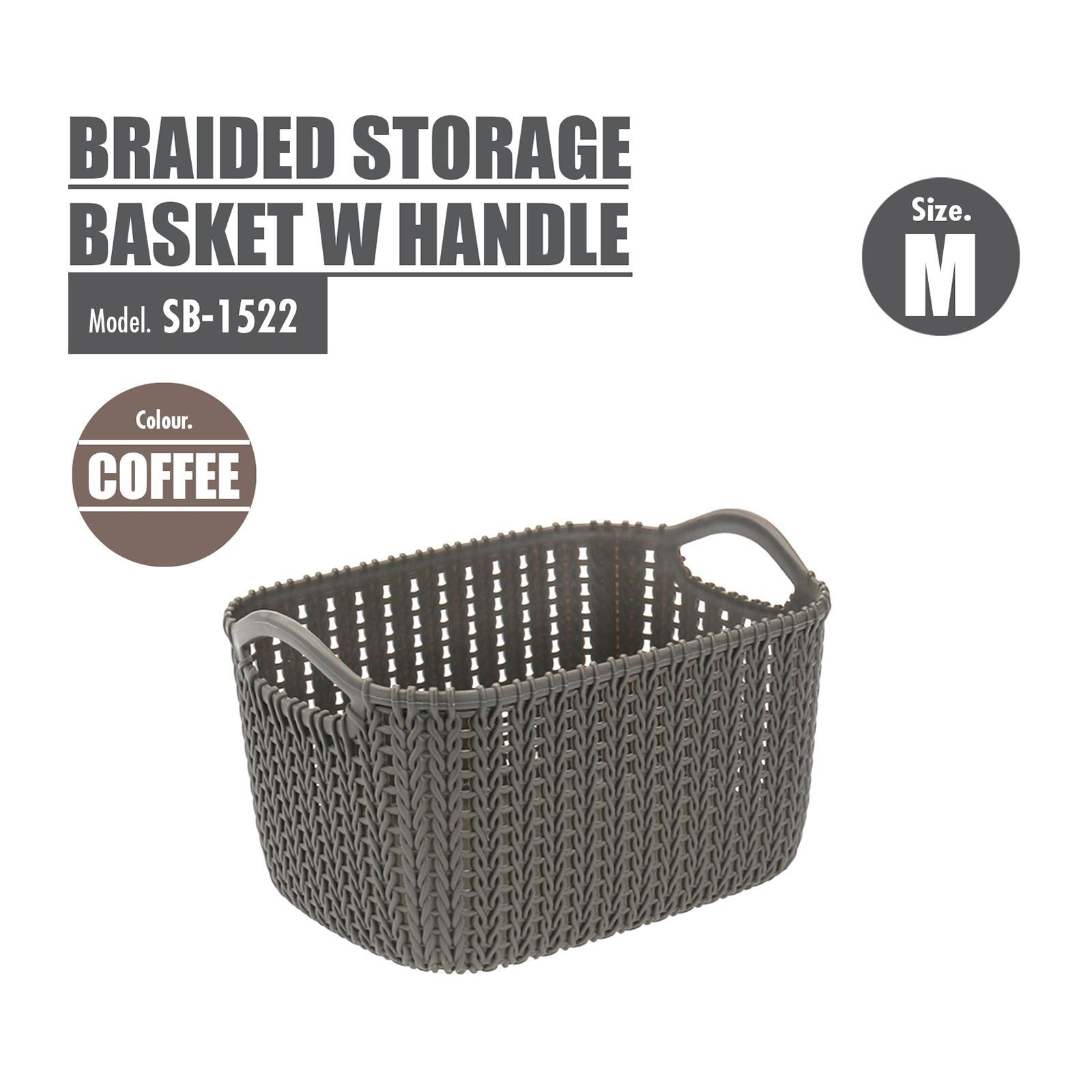 Houze Braided Storage Basket With Handle - Medium - Coffee - SB-1522-COFFEE