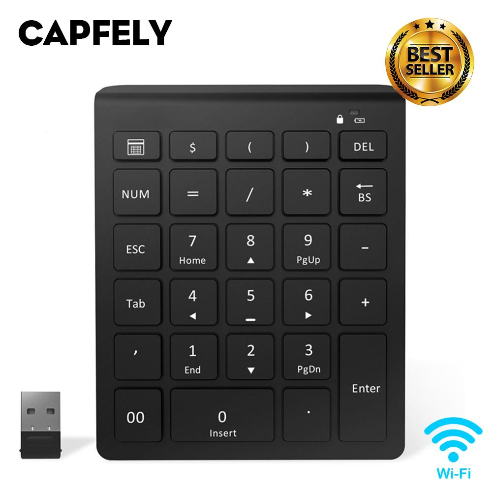 CAPFELY NK28 Wireless Number Pad Portable Wireless Bluetooth 28-Key Numeric Keypad Keyboard Extensions for Financial Accounting Data Entry for Smartphones, Tablets, Surface Pro, Windows, Laptop