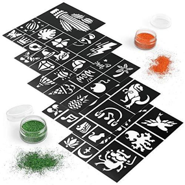 Buy ARTEZA Glitter Tattoo Kit - Body Glitter Tattoo Set Includes 15 Vibrant Colors, 2 Brushes, 2 Glue Applicators and 40 Unique Glitter Tattoo Stencils - Glitter Temporary Tattoos For Kids And Adults Singapore