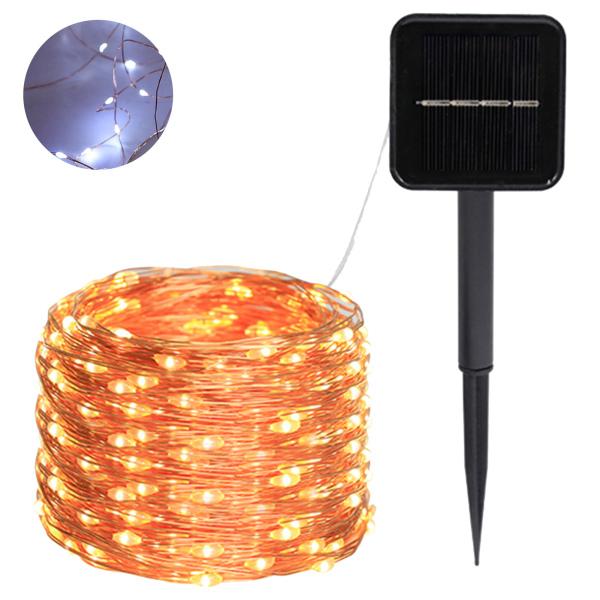 Đèn Dây Năng Lượng Mặt Trời, Đèn Dây Năng Lượng Mặt Trời 22M 8 Chế Độ Sáng Điều Khiển Từ Xa USB