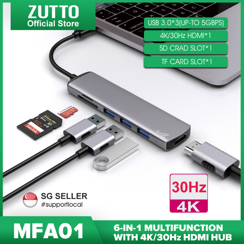 [SG seller] Zutto MFA-01 USB C Hub, 6 in 1 Multi-Function Dongle Adapter Fast Speed, USB C to HDMI 4K, SD/TF Card Reader and 3 USB 3.0 Ports for MacBook Pro, Google Chromebook, Samsung Galaxy S8/S9 and Other USB C Devices