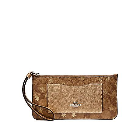 NEW ARRIVAL Coach Zip Top Slim Wristlet Wallet In Signature Canvas With Pop Star Print