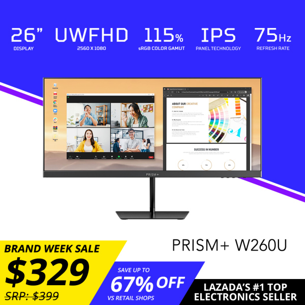 [Pre-Order] PRISM+ W260U 26 UWFHD [2560 x 1080] IPS 115% sRGB Professional Monitor Productivity Monitor [Arrives in Late July to Early August]