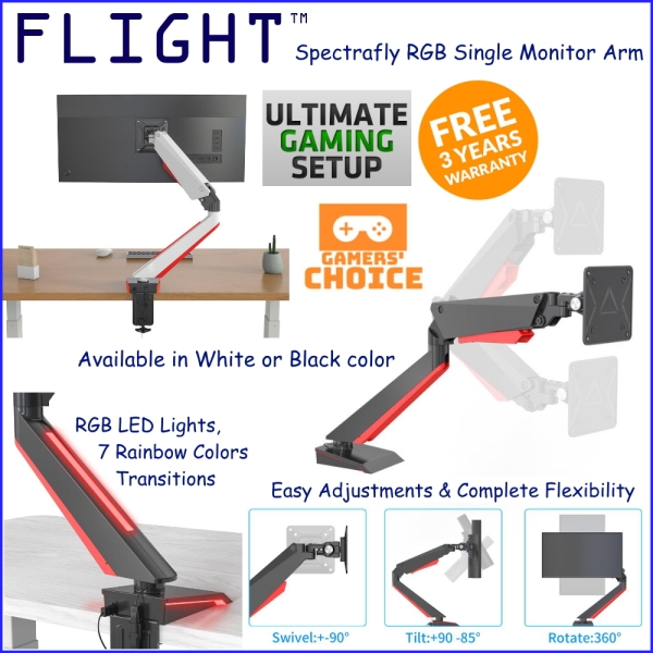 Flight™ Single Spectrafly Monitor Arm LCD Arm Monitor Mount Vesa Monitor Stand Slim Design Come With RGB Lights Dynamic Spring Mechanism, International Vesa Compatible, 0.5-8kg, Cable Management Included, 360 Degree Monitor Rotation